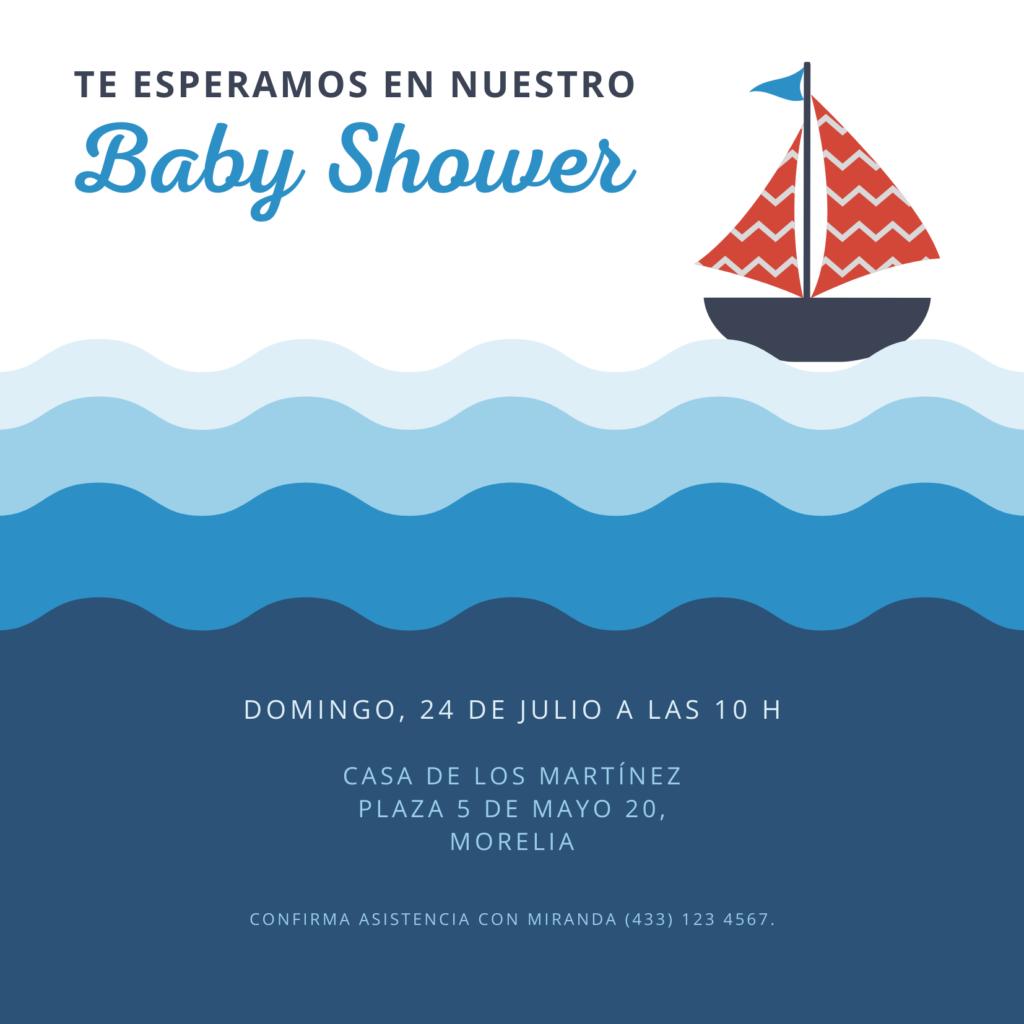 Invitacion para baby shower Barco