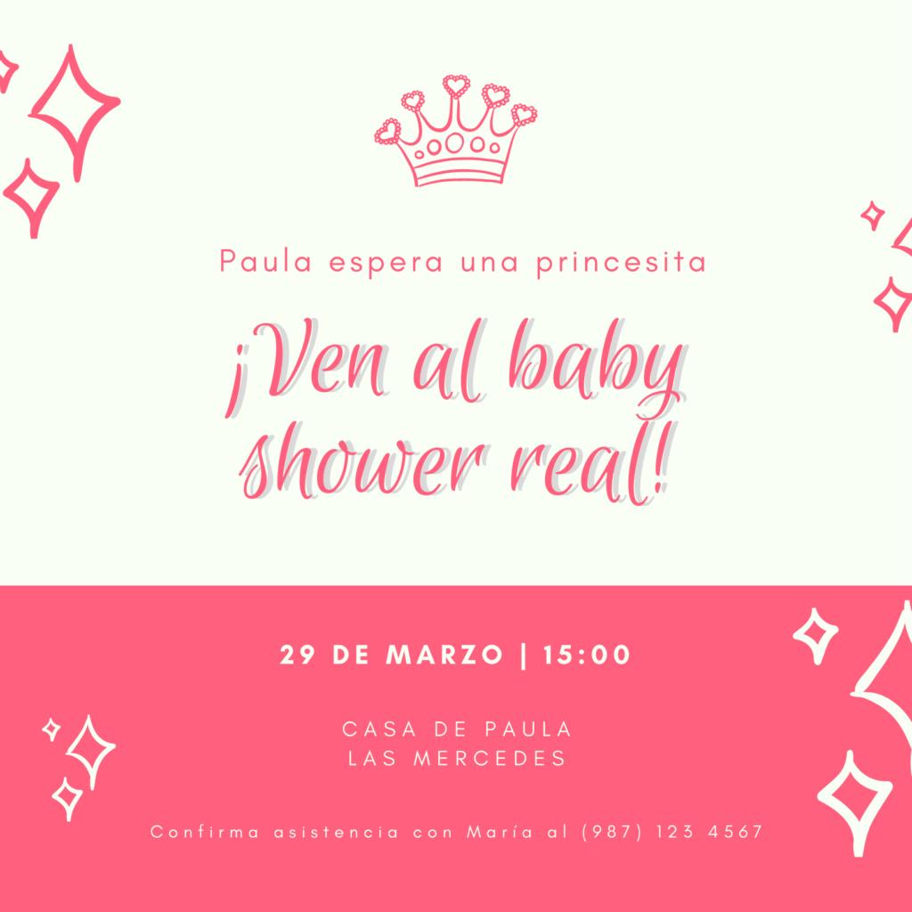 Invitacion baby shower princesa