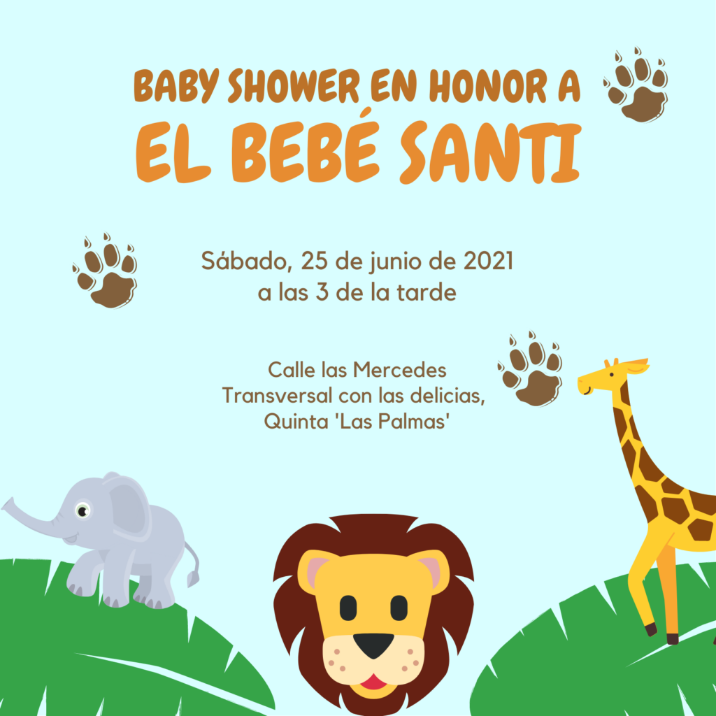 Invitacion baby shower Safari
